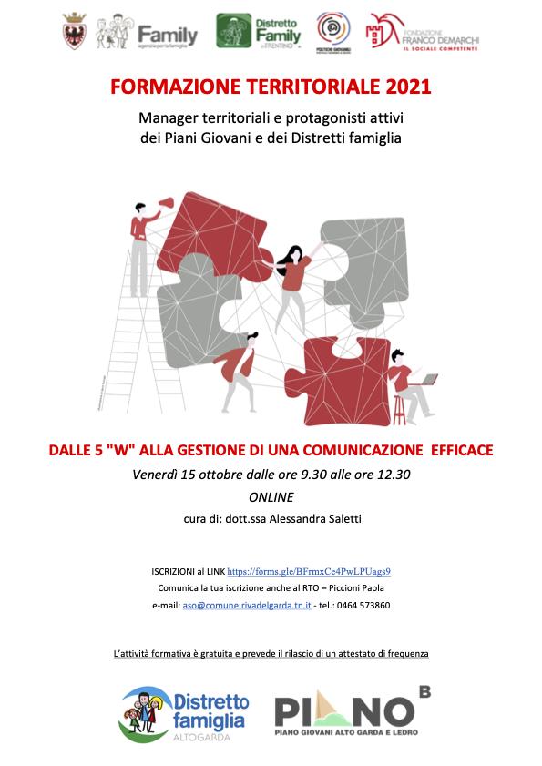 formazione online per manager territoriali e protagonisti attivi dei Piani Giovani e dei Distretti famiglia sul tema della comunicazione efficace